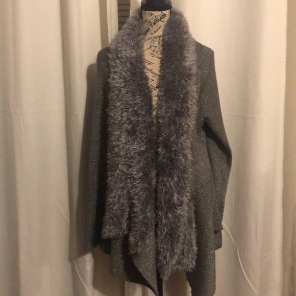Lauren Michelle woman Metallic Faux fur sweater 1x